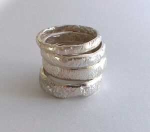 Handmade 4mm Wide Textured Sterling Silver Ring