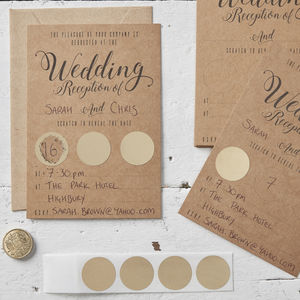 Kraft Scratch The Date Wedding Evening Invitations