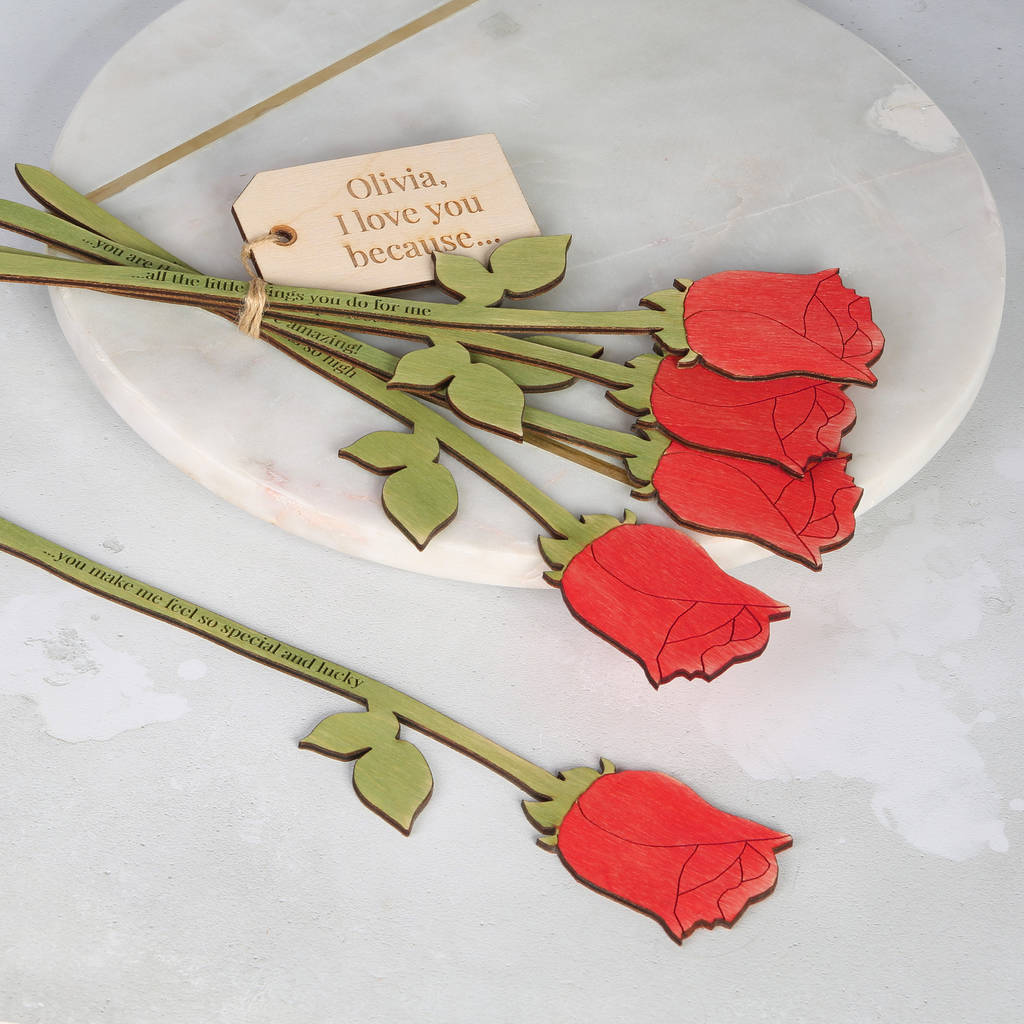 Mummy I Love You Because Personalised Red Roses By Bombus