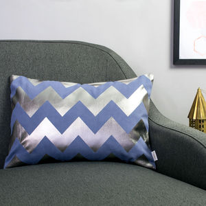 Metallic Chevron Cushion In Blue And Gunmetal