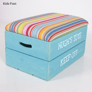 Personalised Wooden Toy Box With Padded Lid - children's room accessories