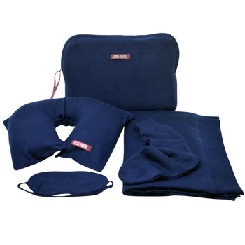 Navy Pure Cashmere Travel Set Eye Mask Blanket Socks Pillow and Case