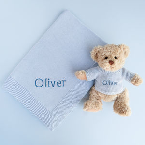 Personalised Baby Boy Bertie Bear With Blanket, Blue - sleeping