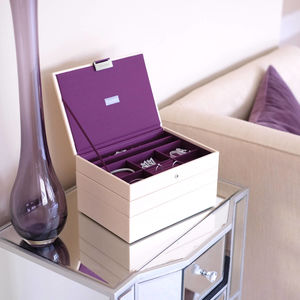Cream And Purple Classic Jewellery Box - jewellery storage & trinket boxes