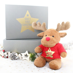 Baby's First Christmas Reindeer And Gift Box