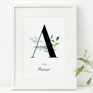 Personalised Lush Foliage Neutral Initial Nursery Print