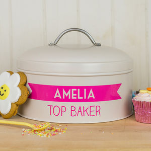 Personalised Cream Banner Cake Tin - gifts for bakers