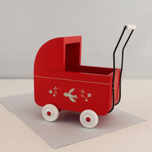 Miniature Red Wooden Toy Pram - traditional toys & games