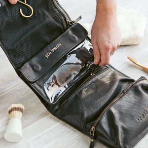 Leather Hanging Wash Bag - gifts for husband or boyfriend