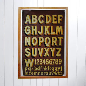 Original 1940's Hand Painted Poster Alphabet Numbers