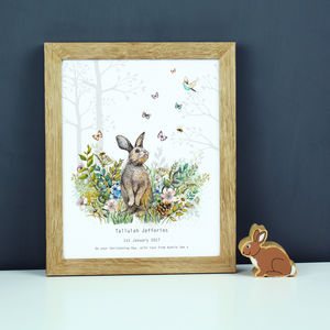 Personalised Baby Girl Bunny Nursery Print - posters & prints