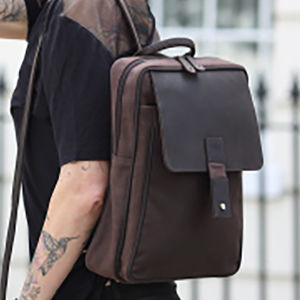 Waxed Canvas And Leather Rucksack - men's accessories