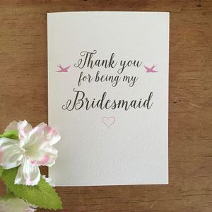 Bridesmaid Thank You Card - bridesmaid cards