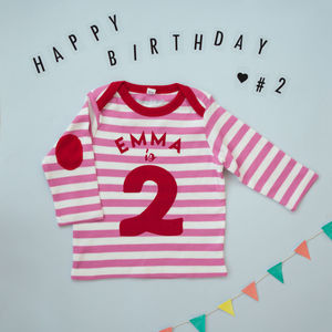 Long Sleeved Birthday Top, Pink And White One Two Years