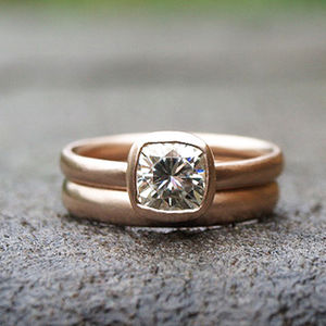 9ct Rose Gold Ring Set With 1ct Cushion Cut Moissanite