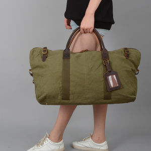 Womens Canvas Leather Travel Duffel Bag - holdalls & weekend bags