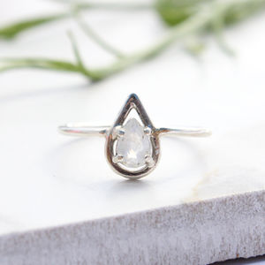 Naeva, Sterling Silver Pear Halo Bohemian Ring