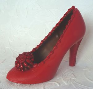 Large Chocolate Shoe Christmas Red Glitter - chocolates & confectionery