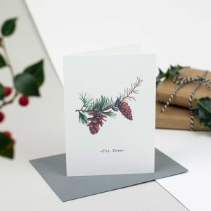 Fir Tree Personalised Illustrated Christmas Card - cards