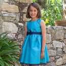 Turquoise Blue Taffeta Flower Girl Party Occasion Dress
