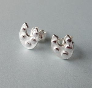 Silver Horseshoe Stud Earrings - earrings