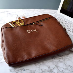 Personalised Leather Effect Laptop Bag