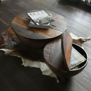 Wooden Coffee Table With Iron Bowl - coffee tables