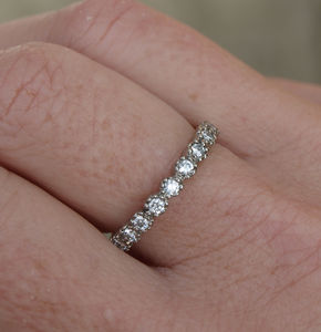 18ct White Gold Diamond Half Eternity Ring - wedding rings