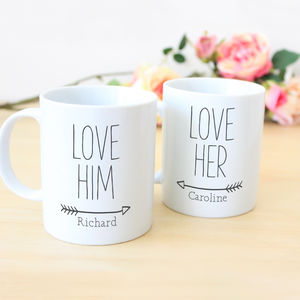 Personalised 'Love Him, Love Her' Couples Mug Gift Set