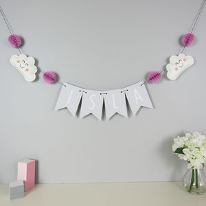Personalised Cloud Name Bunting With Honeycomb Pom Poms - children's room