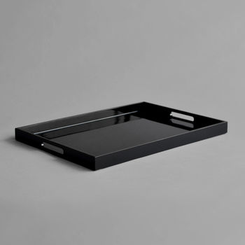 Lacquer Serving Tray, Shiny Black