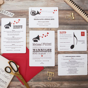 Music Lovers' Wedding Stationery - menu cards