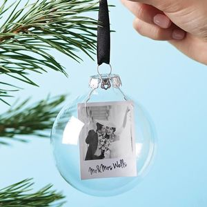 Polaroid Mr And Mrs Personalised Christmas Bauble - dining room