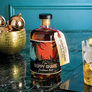 Bottle Of Golden Caribbean Rum With Cocktail Recipes - personalised