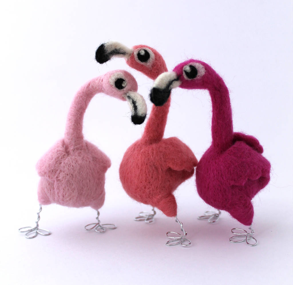 Needle Felted Pink Flamingo Decoration