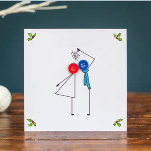 'Kissing Under Mistletoe' Button Christmas Card - cards