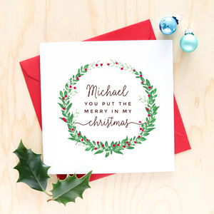 Romantic Personalised Christmas Card - cards & wrap