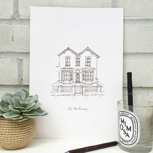 Personalised House Portrait Line Drawing - shop by price