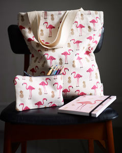Pink Flamingo And Pineapple Tote Bag - foldaway bags