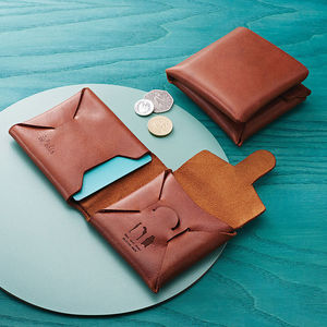 Personalised Origami Leather Wallet With Coin Purse - wallets