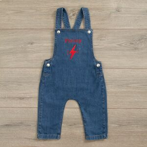 Personalised Lightening Bolt Design Denim Dungarees