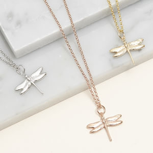 Dragonfly Necklace For Life In Silver, Gold Or Rose