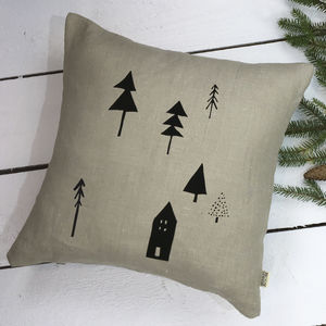 Woodland Christmas Linen Cushion - christmas cushions
