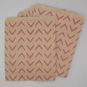Pink Retro Style Kraft Party Bags And Stickers