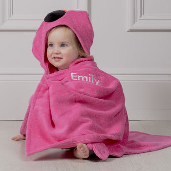 Personalised Franny The Flamingo Hooded Toddler Towel