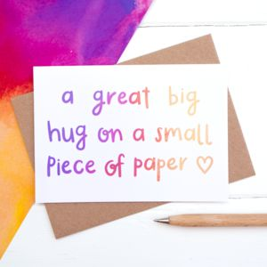 'A Great Big Hug' Card - sympathy & sorry cards