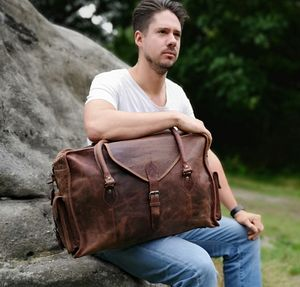 Large Leather Bag In Waxed Finish - bags