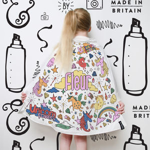 Personalised Unicorn Colour In Cape With Fabric Pens