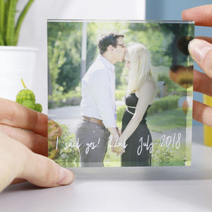 Engagement 'She Said Yes' Acrylic Standing Photograph - people & portraits