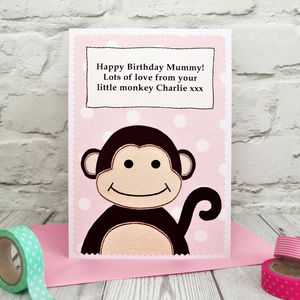 Mummy / Nan Personalised 'Monkey' Birthday Card - personalised